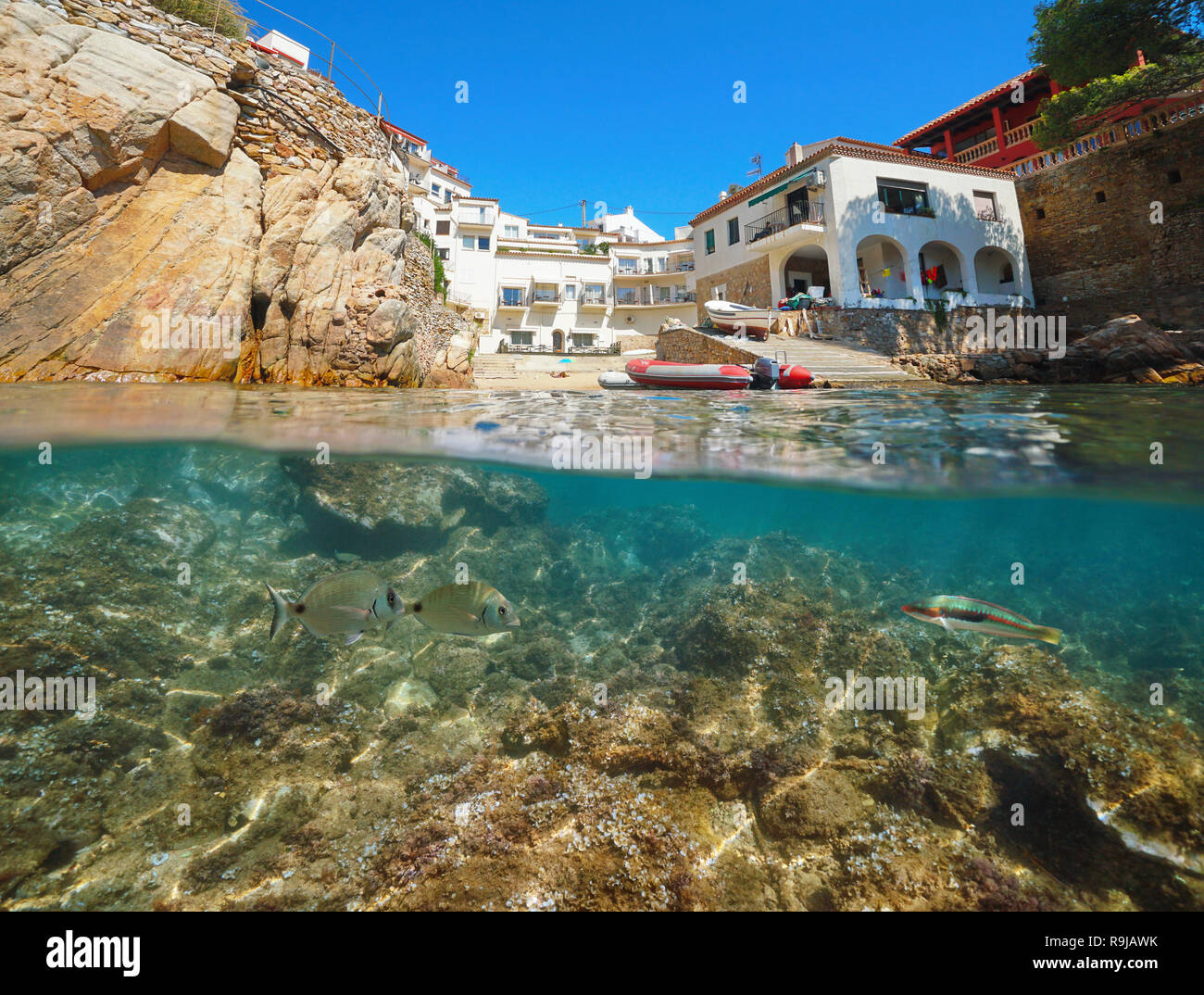 Spain Costa Brava small cove with houses and fish underwater, Fornells de Mar village, split view above and below surface, Catalonia,Mediterranean sea - Stock Image