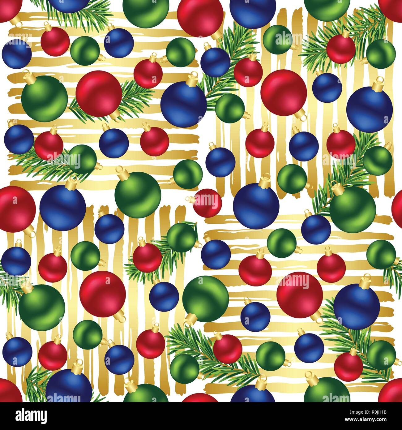 Christmas Red Blue Green Ornaments Fir Tree Branches And Golden Stripes Seamless Pattern For Holidays Home Decor Textile And Gift Wrap Stock Vector Image Art Alamy