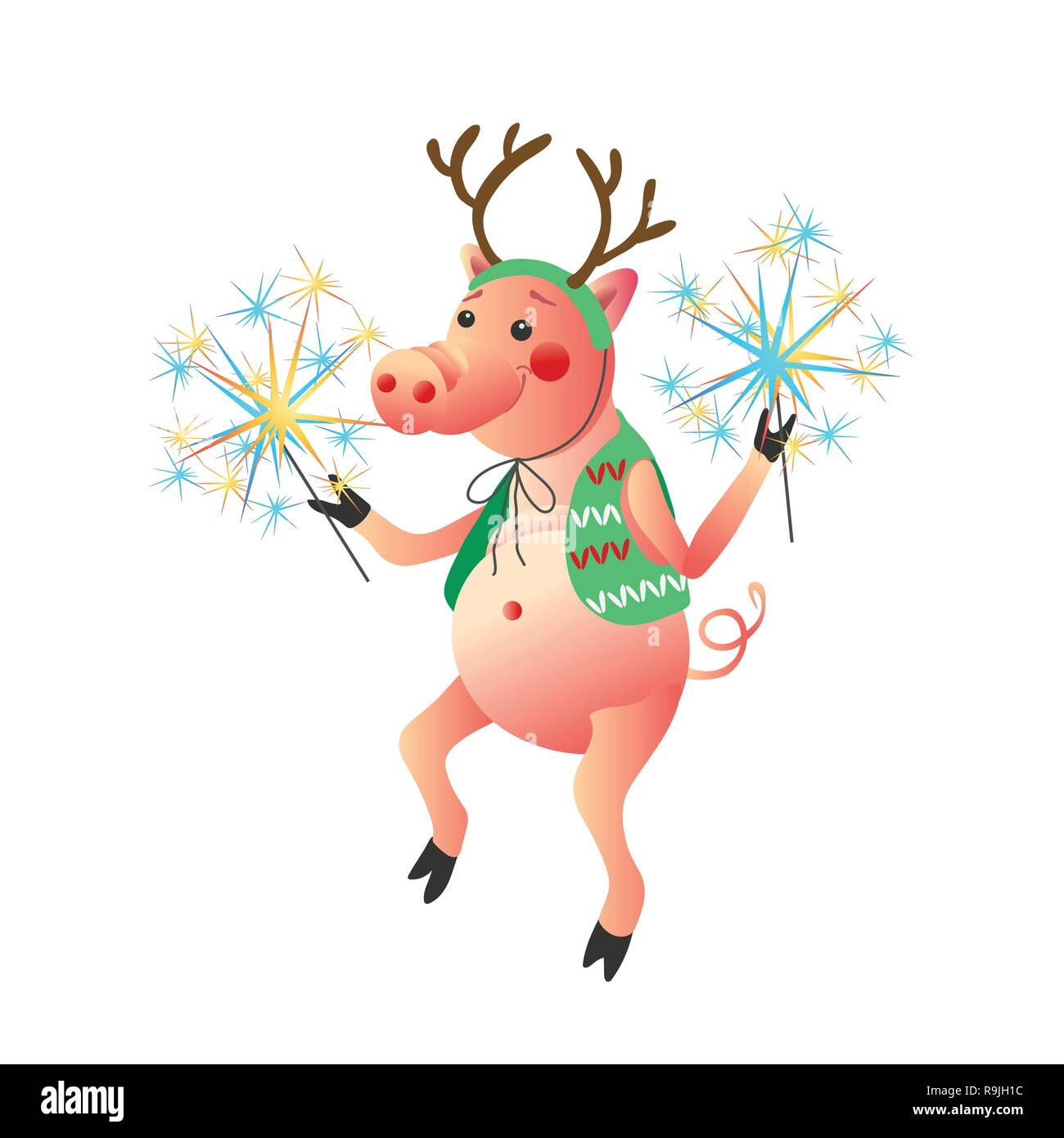 Funny pig dancing with sparklers New Year symbol  isolated on the white background - Stock Vector