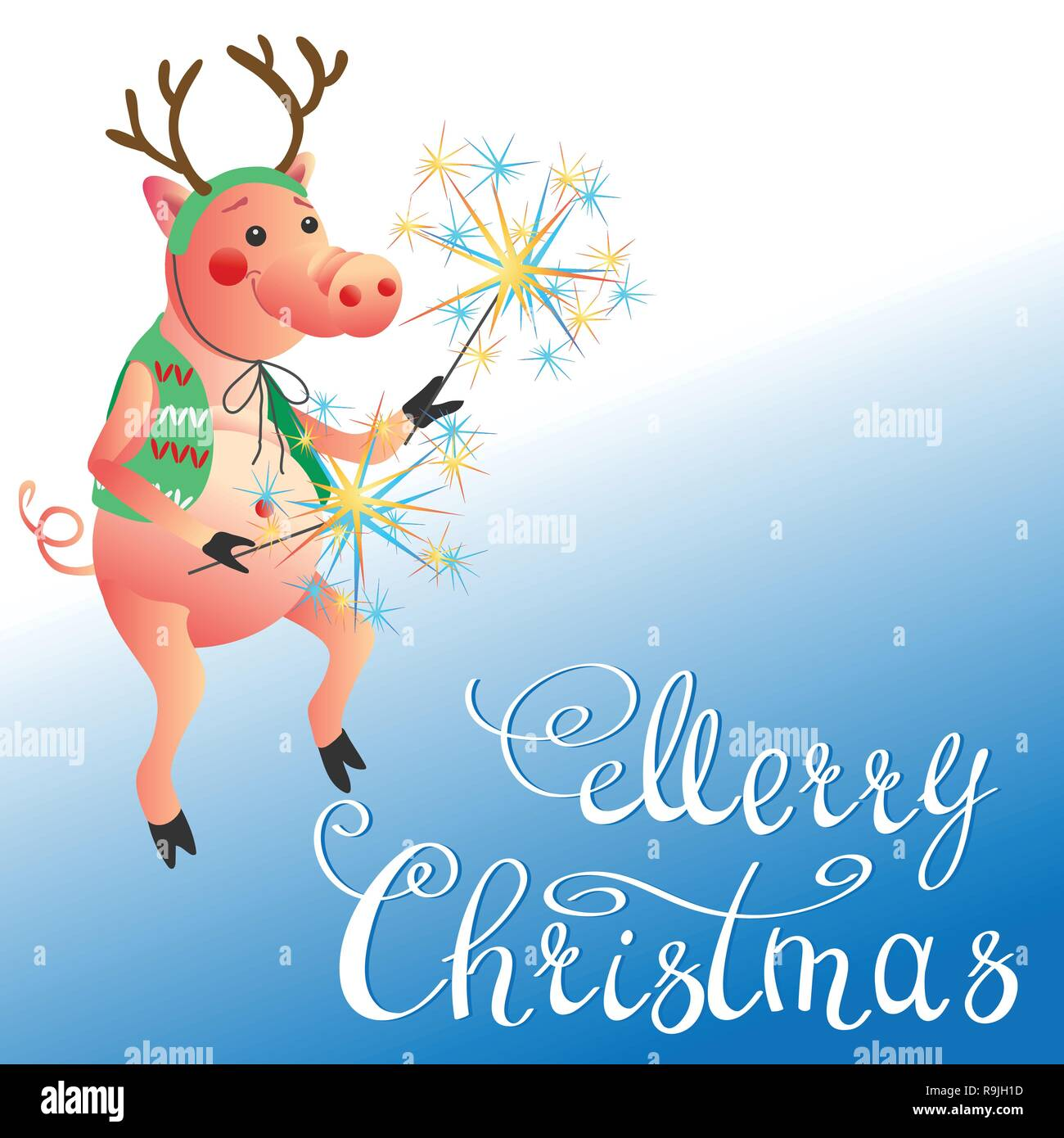 Funny pig dancing with sparklers New Year symbol and Merry Christmas lettering greeting card - Stock Vector