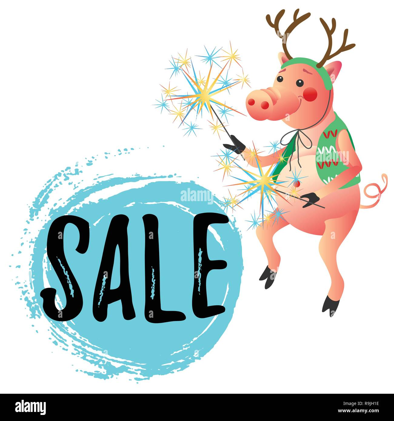 New Year symbol  funny dancing pig with sparklers sale offer banner - Stock Vector