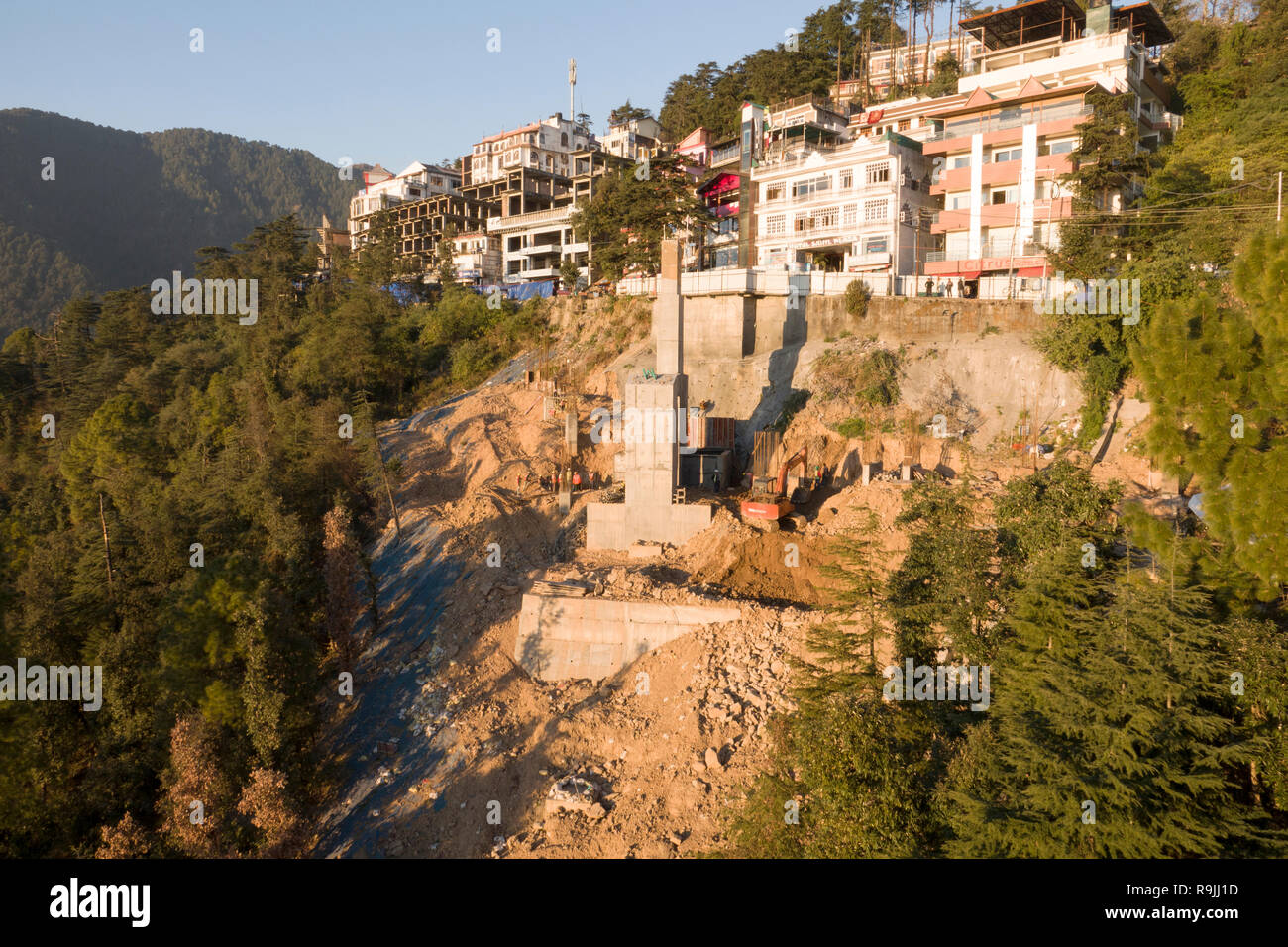 Construction of concrete pillar for Dharamshala to McLeod Ganj ropeway in Himachal Pradesh, India - Stock Image