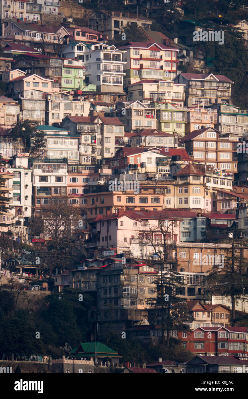 Tiered houses in Shimla, Himachal Pradesh, India - Stock Image