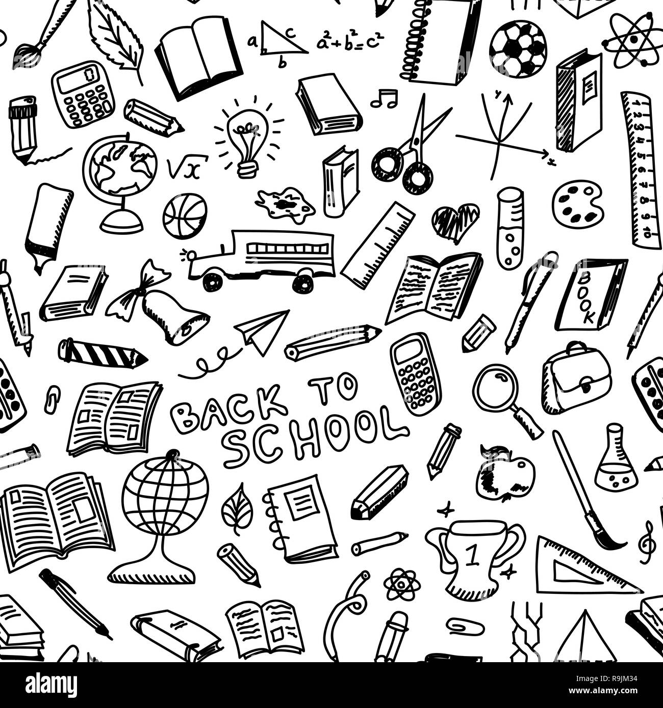 School Supplies Sketch Seamless Pattern In Doodle Style