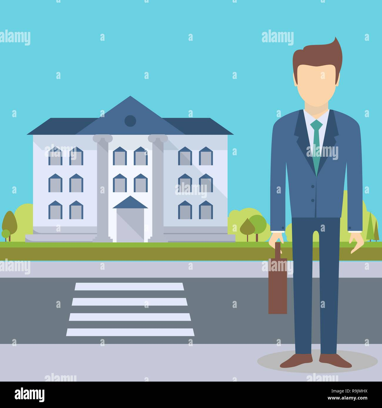 Businessman Standing At The Office Buildinginstitution With Road On