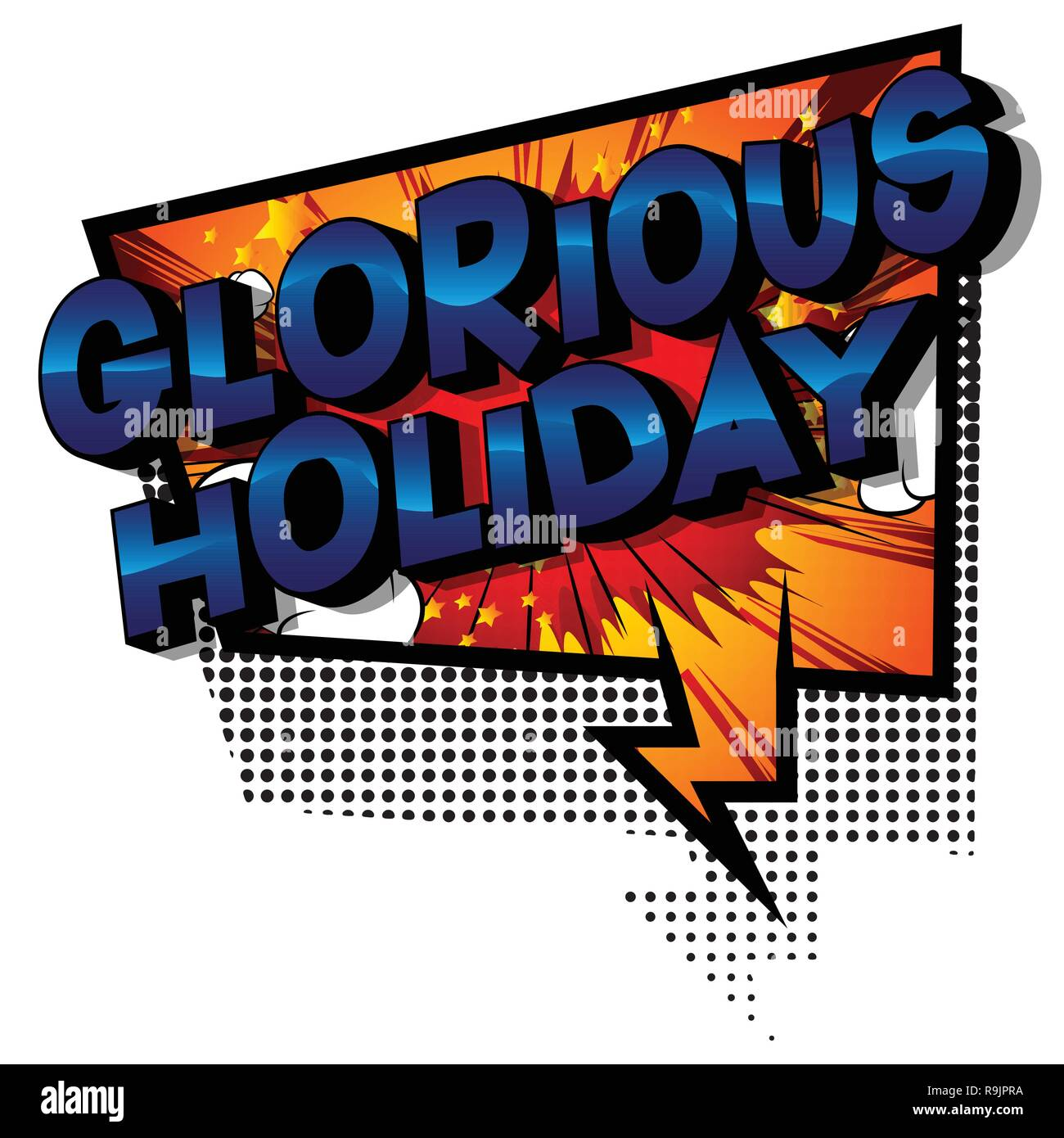 Glorious Holiday - Vector illustrated comic book style phrase on abstract background. - Stock Image