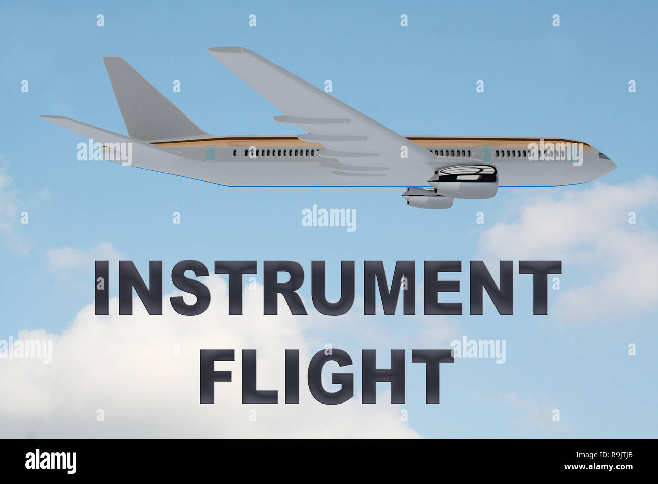 3D illustration of INSTRUMENT FLIGHT title on cloudy sky as a background, under an airplane. - Stock Image