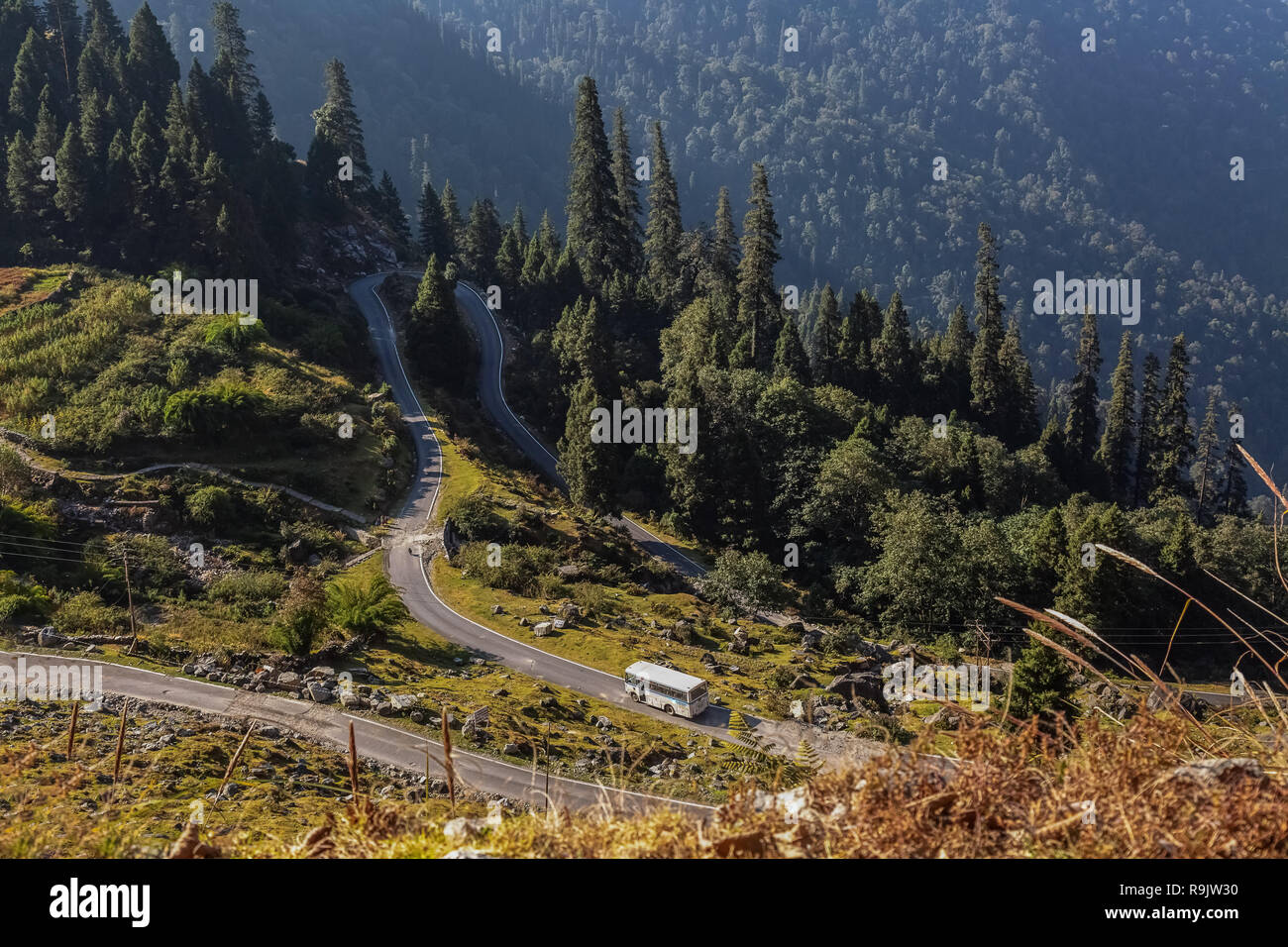 Scenic high altitude mountain road aerial view in the Himalayan region of Almora Uttarakhand India. Stock Photo