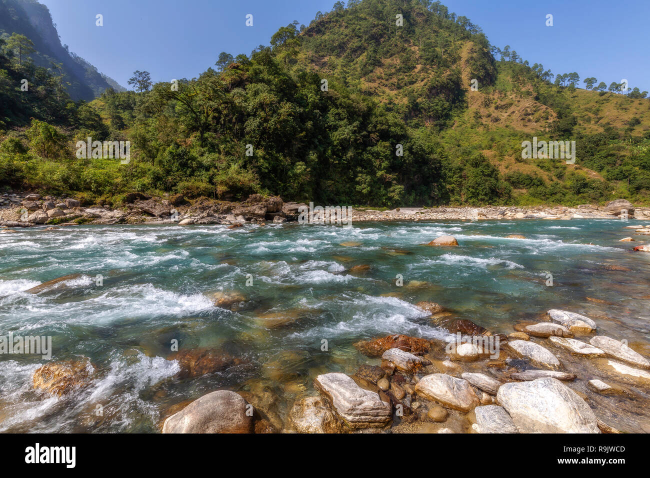 Gori Ganga river valley with scenic landscape at Munsiyari Uttarakhand India. Stock Photo