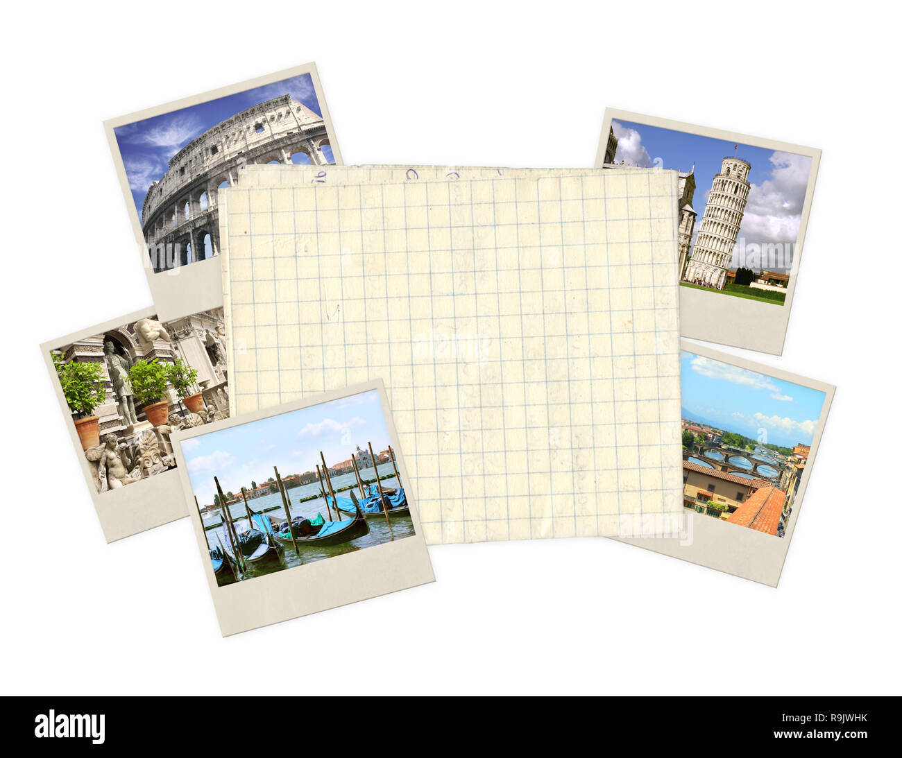 Memories of Italy. Old photos and paper - Stock Image