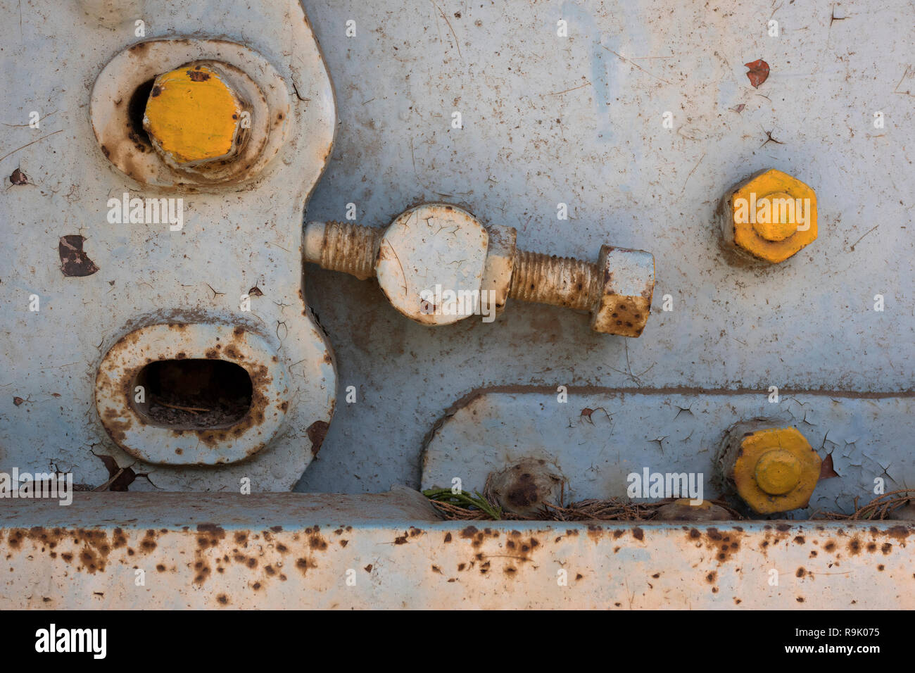 Old rusty screws on a neglected panel - Stock Image