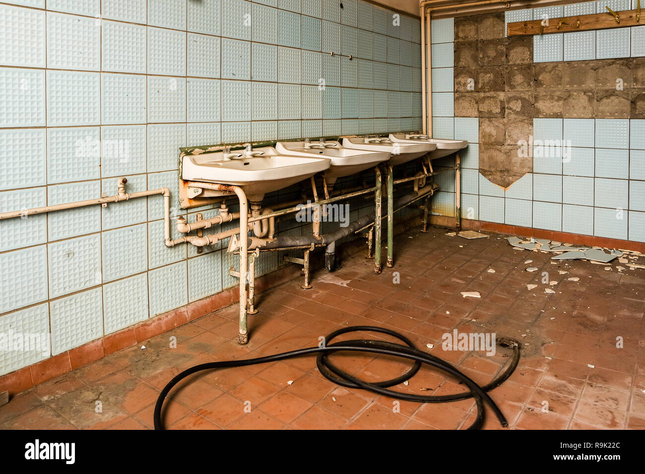 GDR washroom factory hall - Stock Image