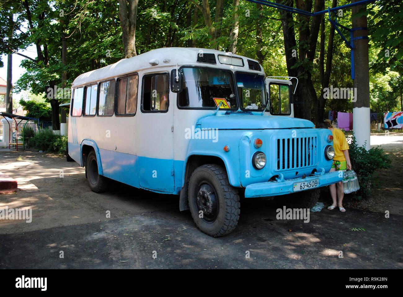 Ukrainian school bus. Odessa. Ukraine. - Stock Image