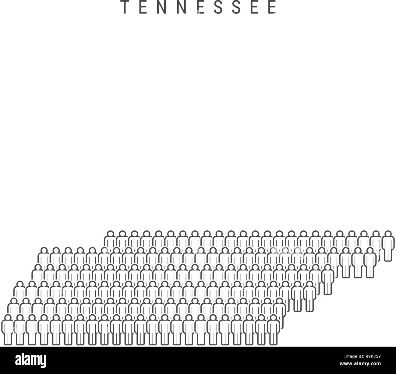 Vector People Map of Tennessee, US State. Stylized Silhouette ...