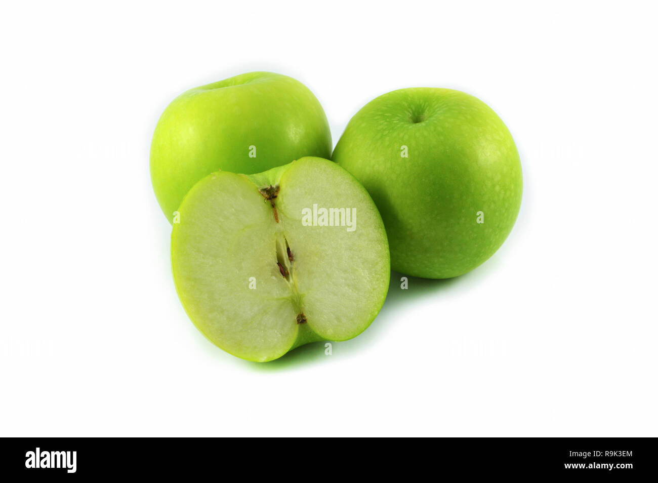 Green apple isolate on white background / three green fresh