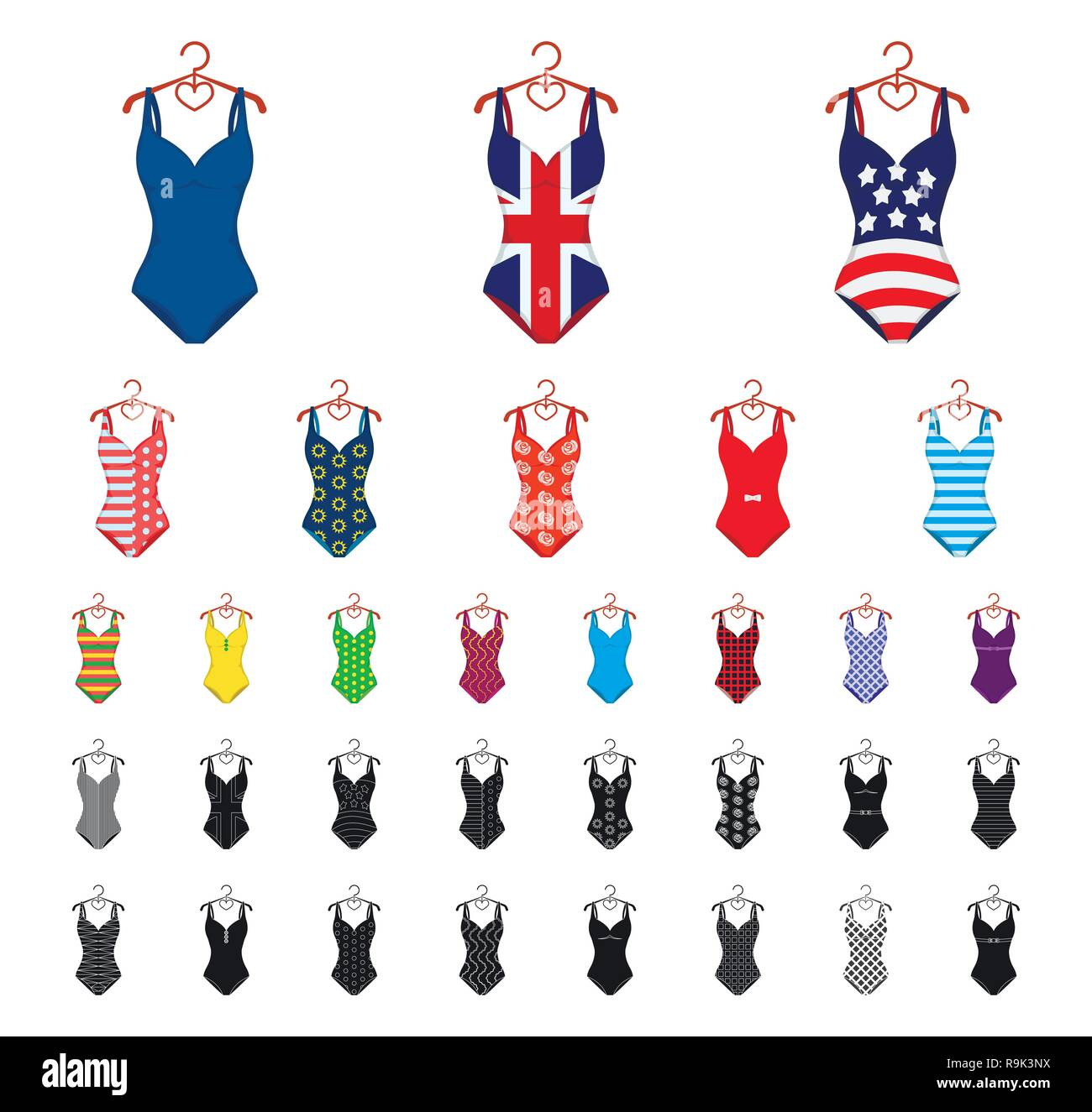 d3bcf60567 Swimsuits Stock Vector Images - Alamy