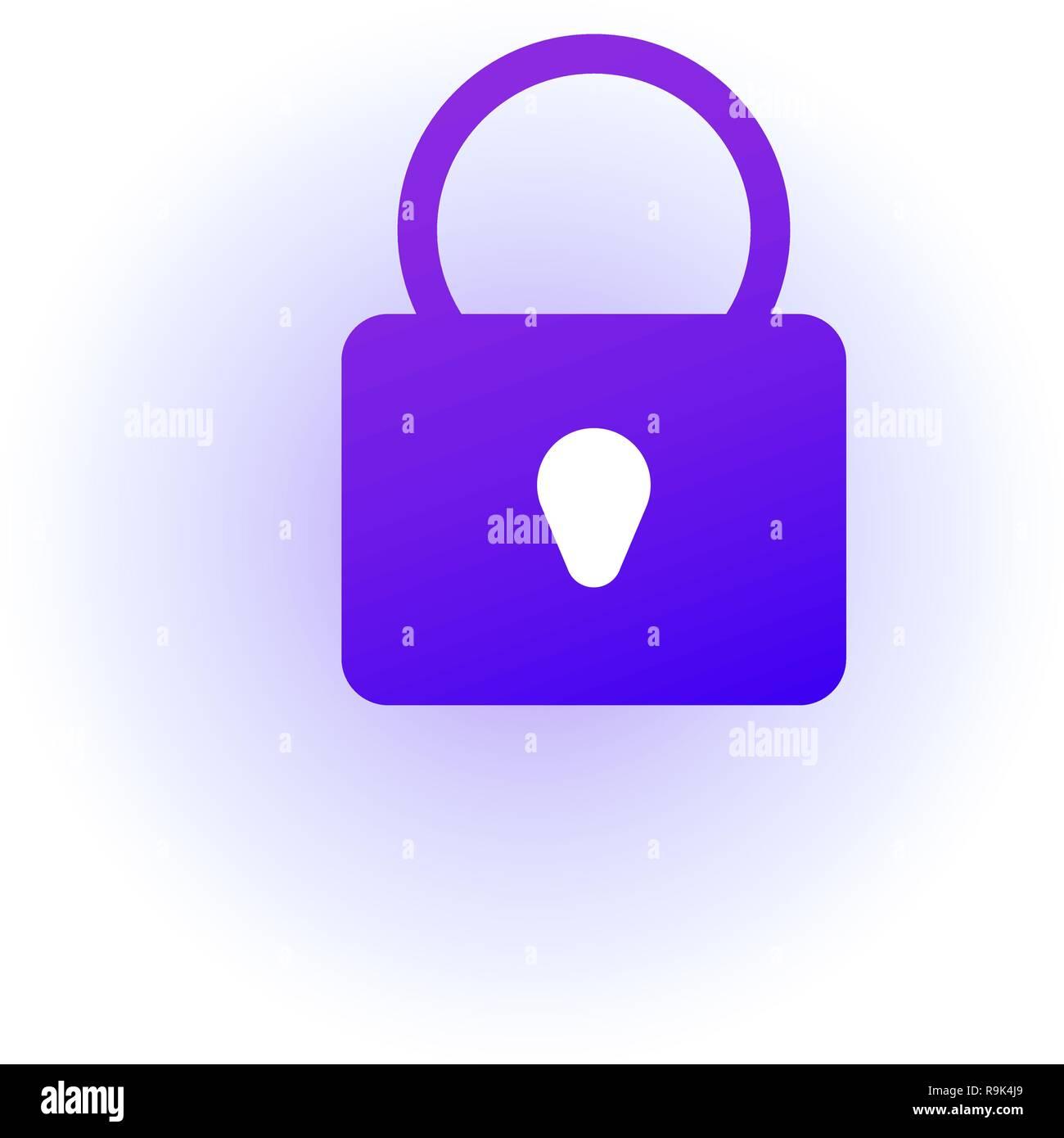 Web icon. Padlock. Sign lock. Purple gradient. - Stock Image