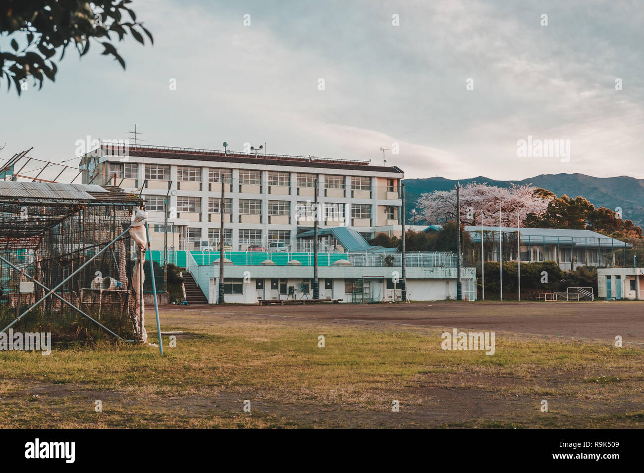 Nagaisaki Junior High School during Sunset in Spring with Cherry Blossom tree blooming. This school is known for the set of Anime, Love Live! Sunshine - Stock Image