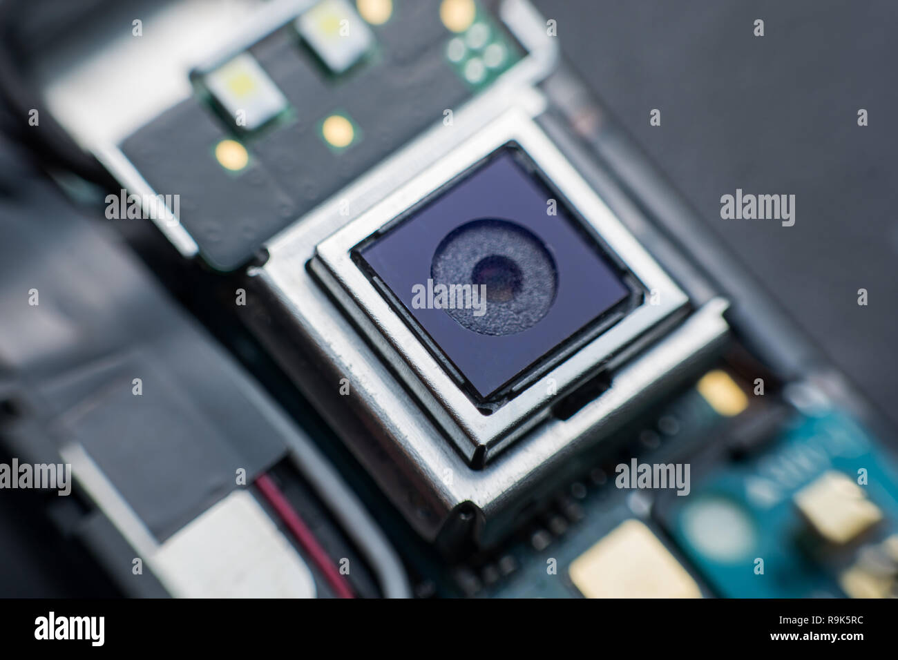 Close Up Camera Inside Electronic Circuit Board Smart Phone Cell Disassembled Parts
