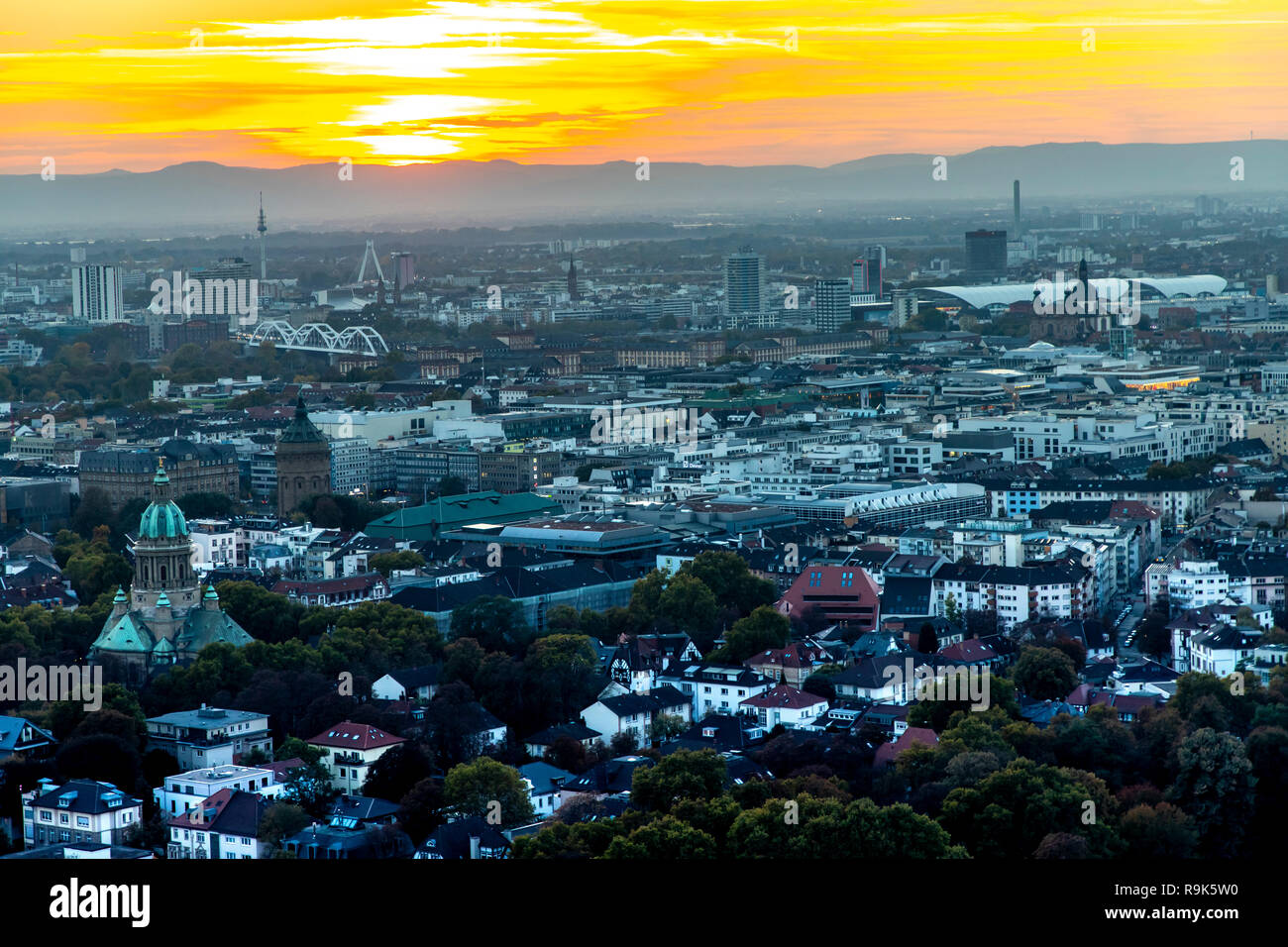 View of downtown Mannheim and Ludwigshafen, in the back