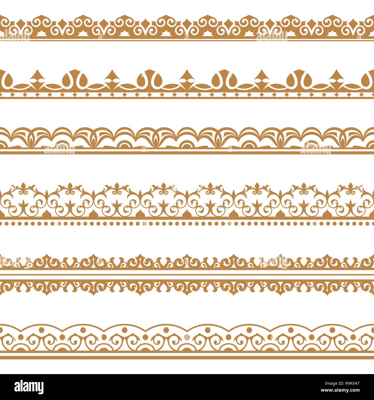 Set Of Vector Art Dividers In East Style Borders For The