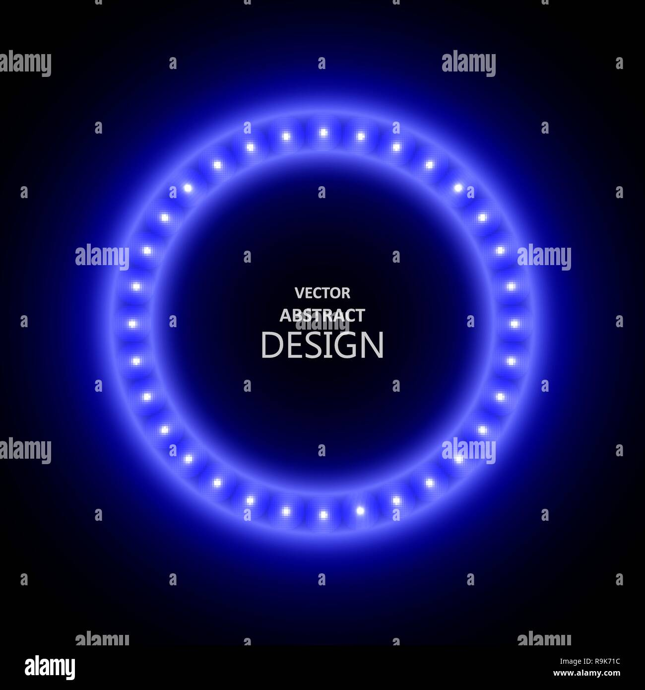 The neon blue frame with LED illumination in a retro style. The shining billboard with the place for the text. The vectorial burning template in ancie - Stock Image