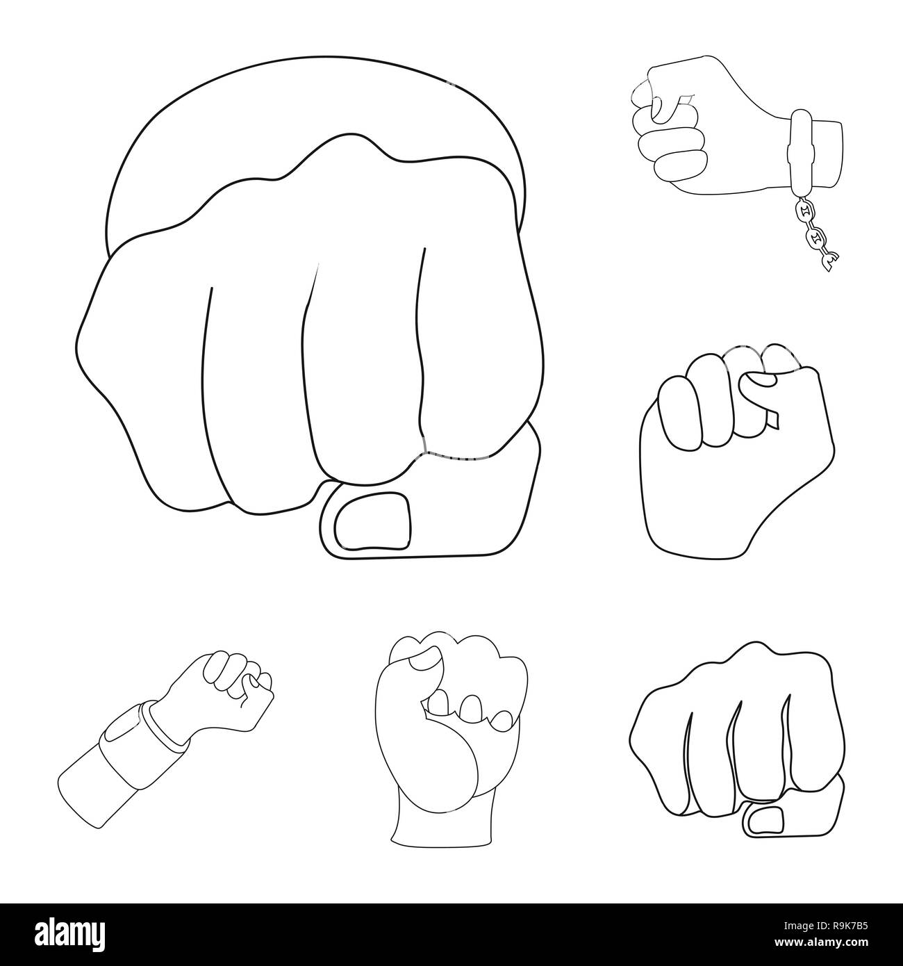 Isolated Object Of Fist And Punch Symbol Collection Of Fist And Hand Stock Symbol For Web Stock Vector Image Art Alamy