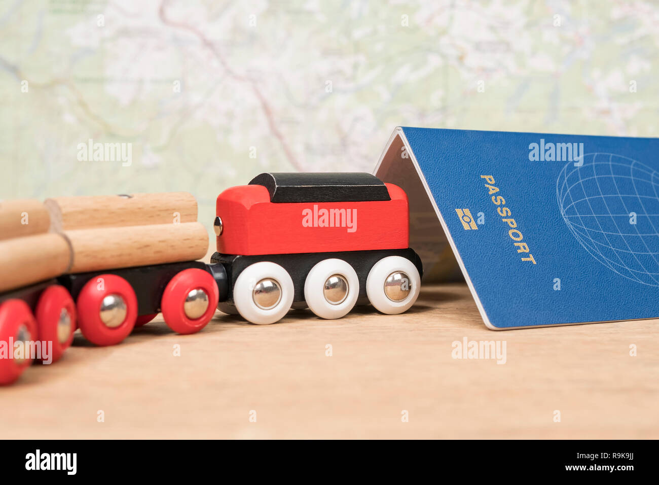train drives into the passport - Stock Image