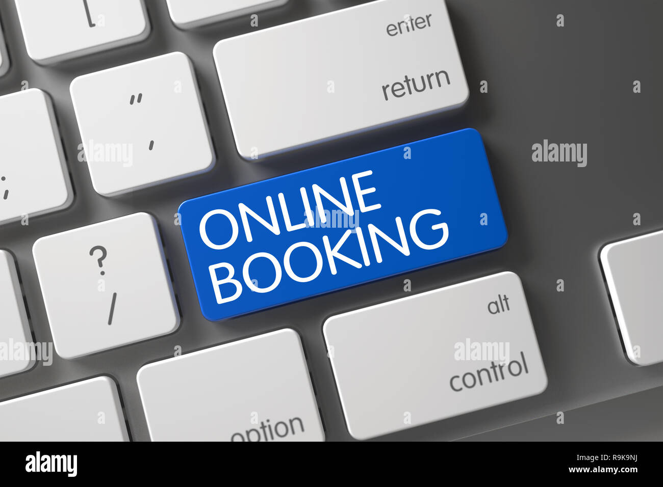 Online Booking Concept: Modern Keyboard with Online Booking, Selected Focus on Blue Enter Button. 3D Illustration. - Stock Image