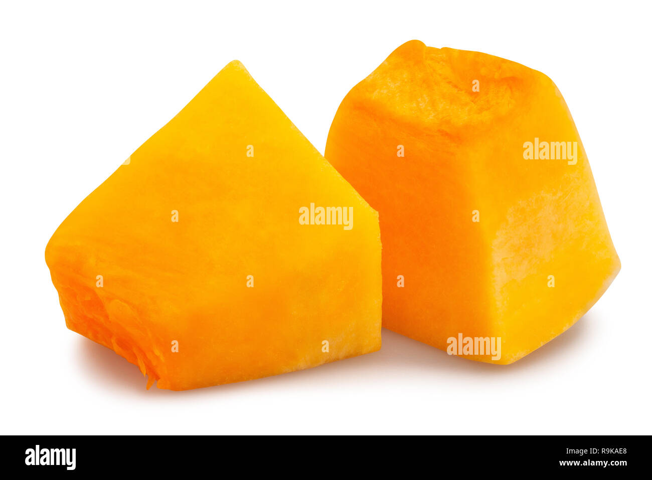 sliced butternut squash path isolated Stock Photo