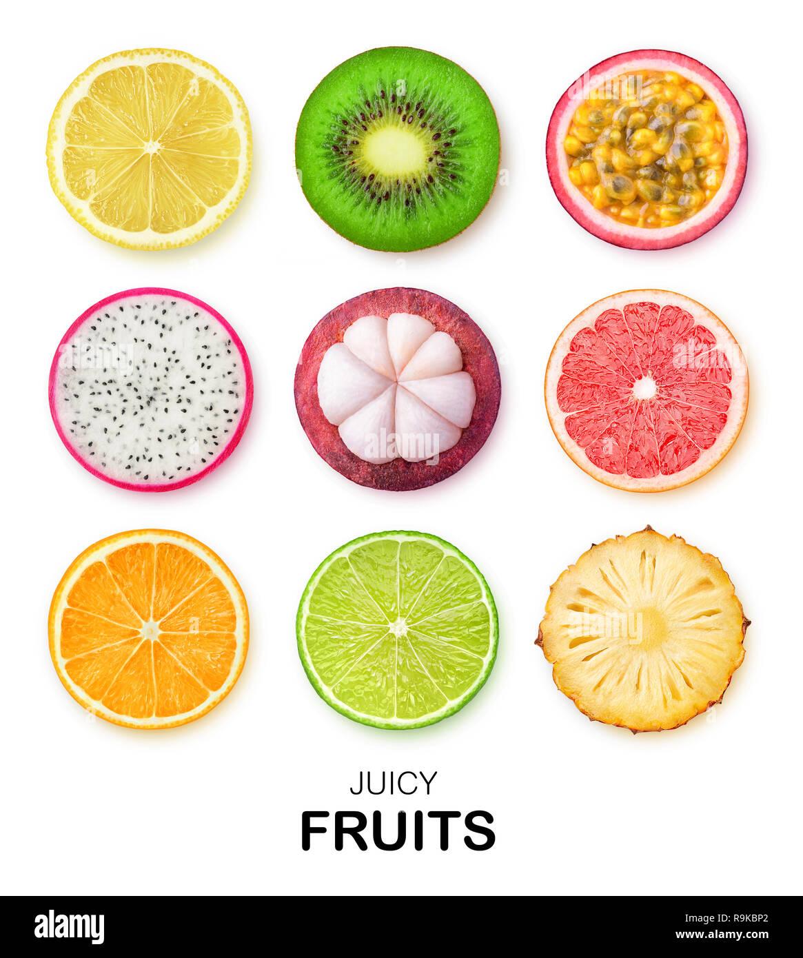 Isolated fruits slices. Pieces of lemon, kiwi, passion fruit, dragon fruit, mangosteen, grapefruit, orange, lime and pineapple isolated on white backg Stock Photo