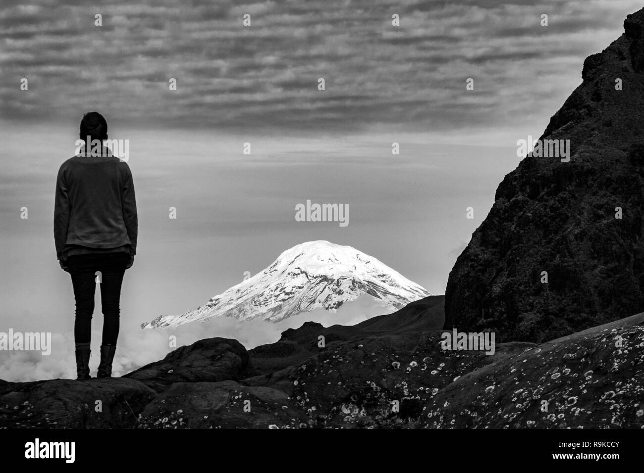 View of Volcano Chimborazo from volcano El Altar, Riobamba, Ecuador - Stock Image