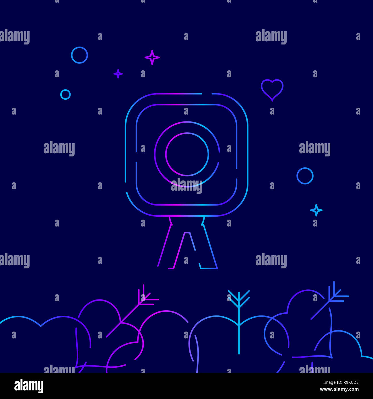 Photo Camera, Photographer Line Icon. Wedding Photography Gradient Symbol, Pictogram, Sign. Dark Blue Background. Light Abstract Geometric Background. - Stock Image