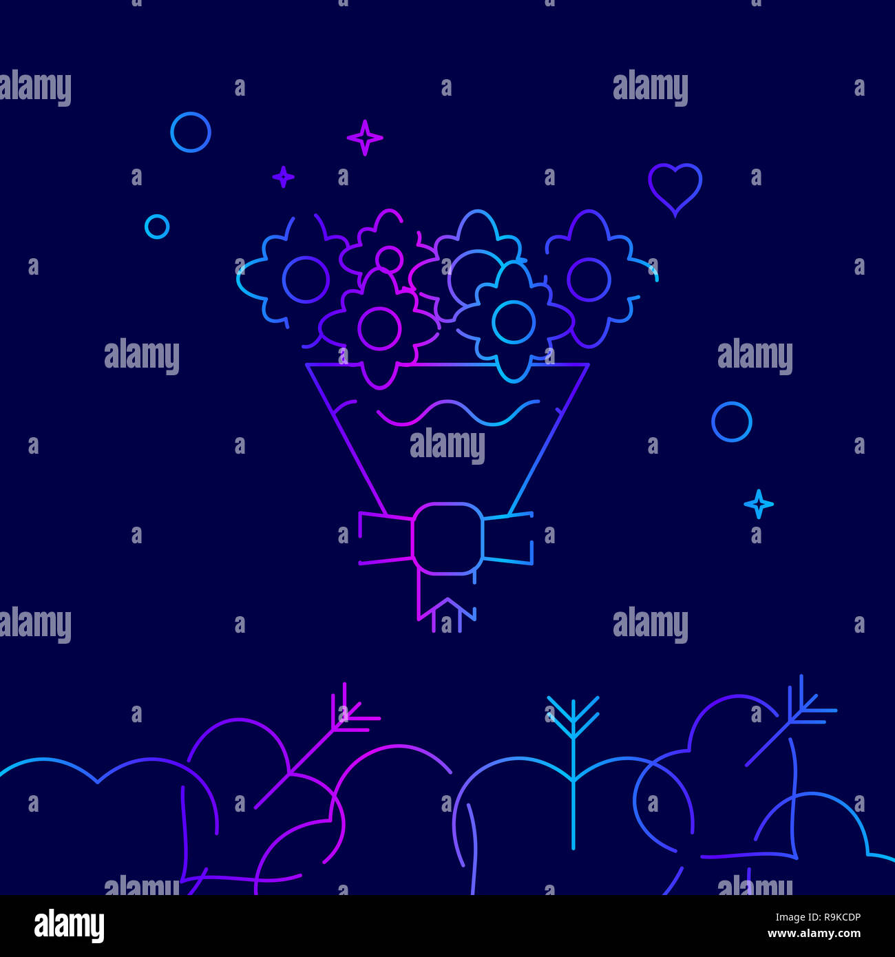 Bouquet of Flowers Line Icon. The Bride's Bouquet Gradient Symbol, Pictogram, Sign. Dark Blue Background. Light Abstract Geometric Background. Related - Stock Image
