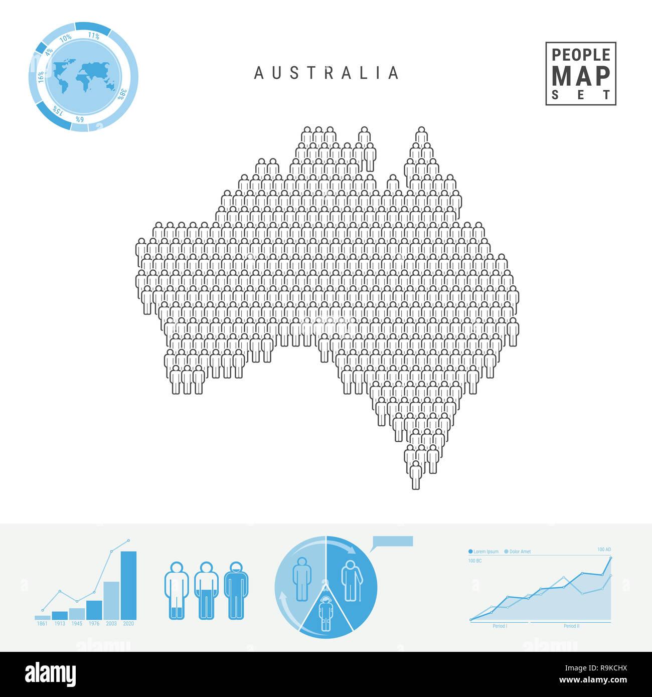 Australia Map Shape.Australia People Icon Map People Crowd In The Shape Of Australia