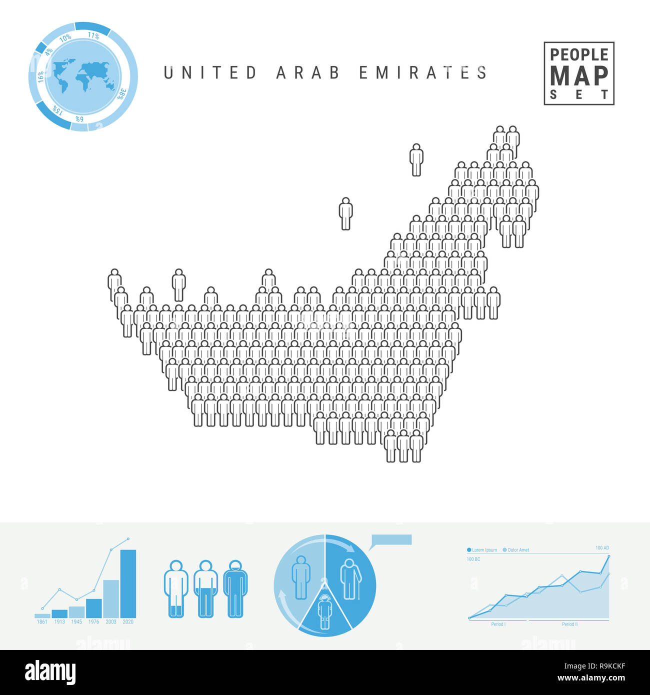 United Arab Emirates People Icon Map. People Crowd in the Shape of a Map of UAE. Stylized Silhouette of UAE. Population Growth and Aging Infographic E - Stock Image