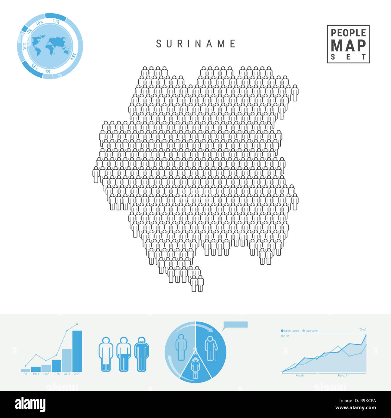 Suriname People Icon Map. People Crowd in the Shape of a Map of Suriname. Stylized Silhouette of Suriname. Population Growth and Aging Infographic Ele - Stock Image