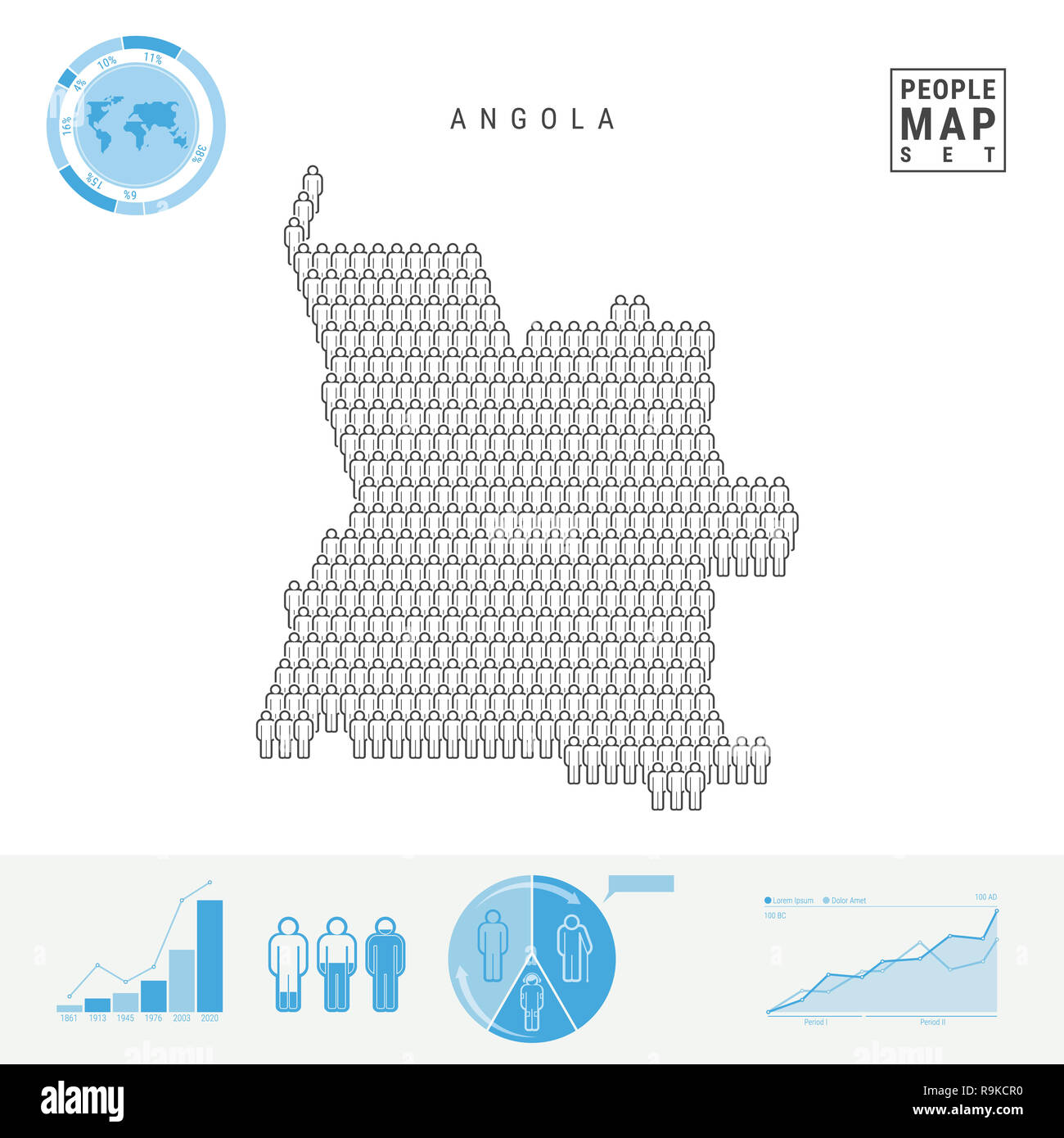 Angola People Icon Map. People Crowd in the Shape of a Map of Angola. Stylized Silhouette of Angola. Population Growth and Aging Infographic Elements. - Stock Image