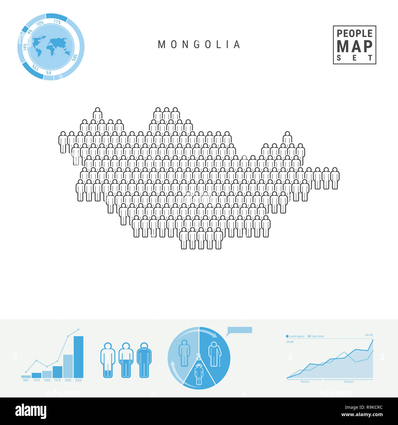 Mongolia People Icon Map. People Crowd in the Shape of a Map of Mongolia. Stylized Silhouette of Mongolia. Population Growth and Aging Infographic Ele Stock Photo