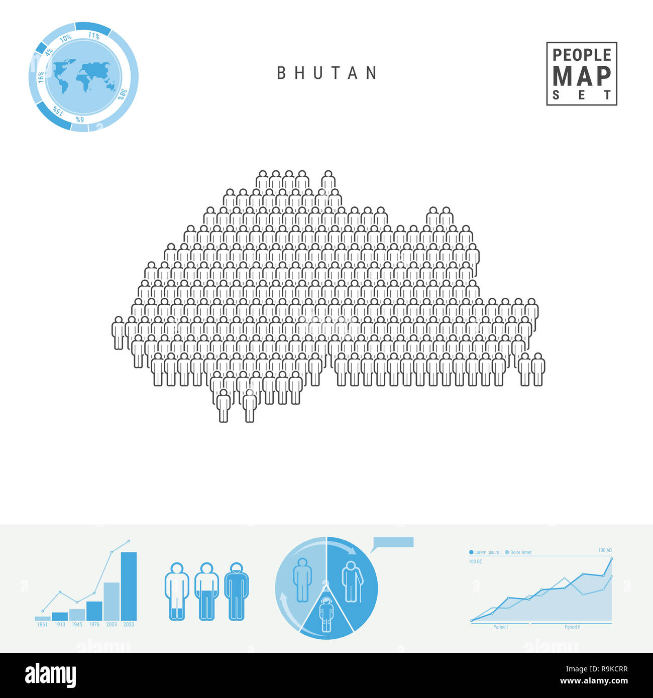 Bhutan People Icon Map. People Crowd in the Shape of a Map of Bhutan. Stylized Silhouette of Bhutan. Population Growth and Aging Infographic Elements. - Stock Image
