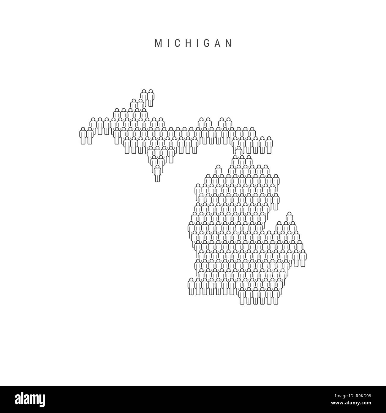 People Map of Michigan, US State. Stylized Silhouette, People Crowd on mc map, fc map, mb map, nb map, sk map, ae map, hk map, pc map, kl map, ac map, world map, be map,