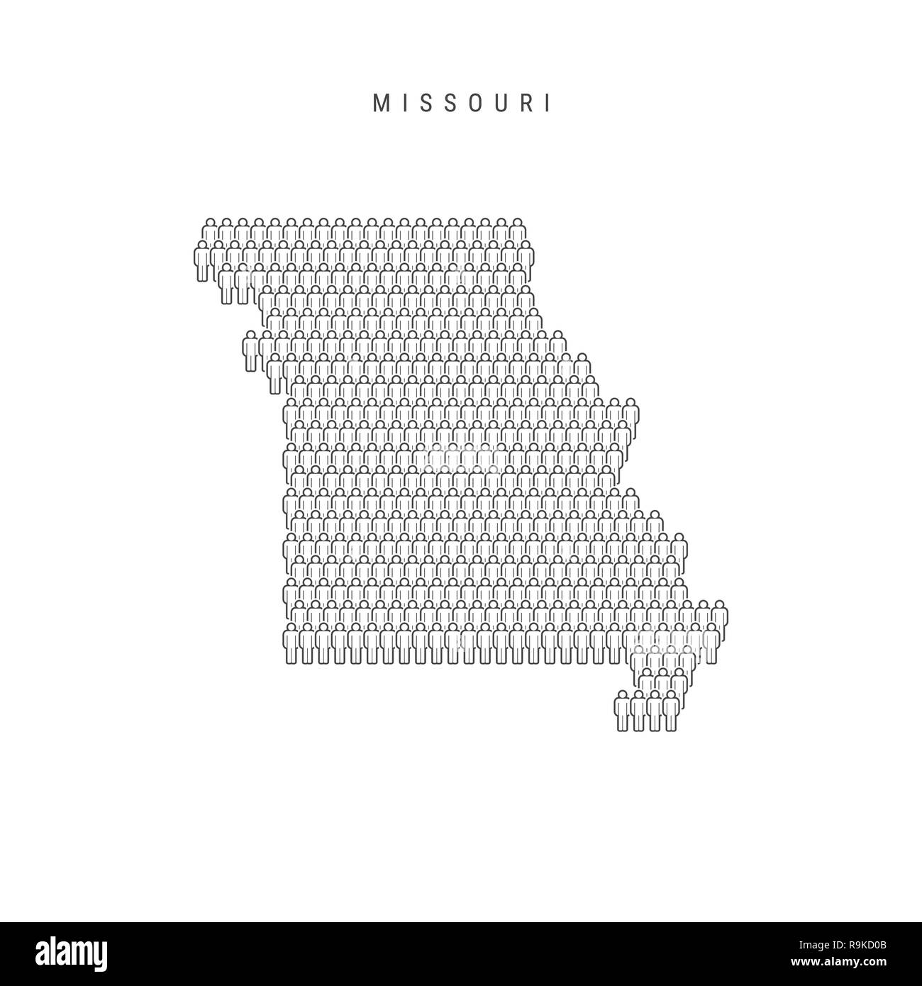 People Map Of Missouri Us State Stylized Silhouette People Crowd