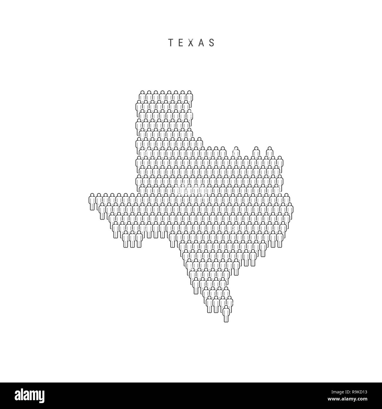 Population Map Of Texas.People Map Of Texas Us State Stylized Silhouette People Crowd In