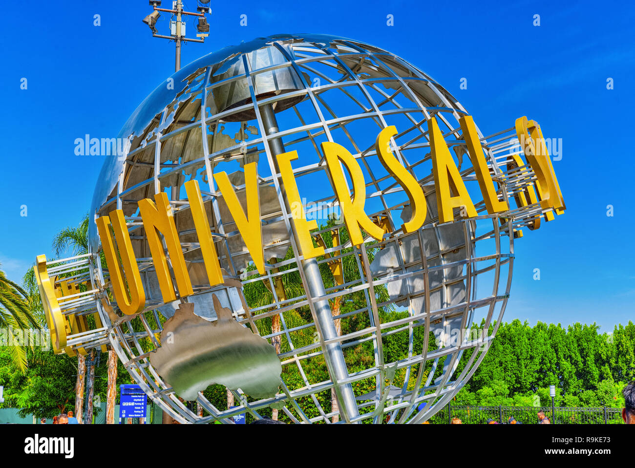 Los Angelos, California, USA - September 07, 2018: World famous park Universal Studios in Hollywood. Ball with the inscription at the entrance to the  - Stock Image