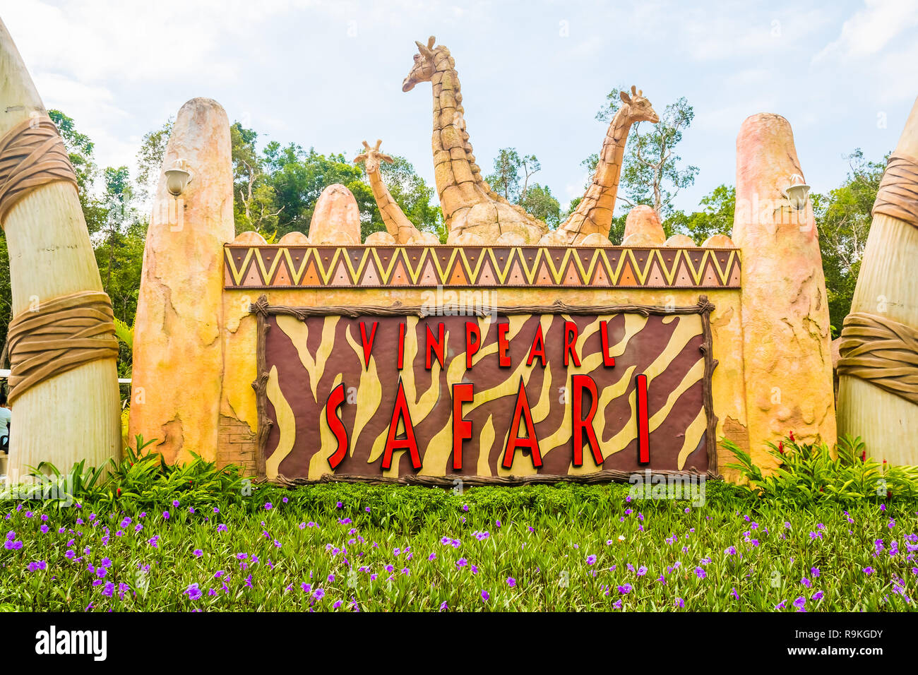 Largest zoological park in Vietnam - Vinpearl Safari Phu Quoc park with exotic flora and fauna, Phu Quoc in Vietnam - Stock Image