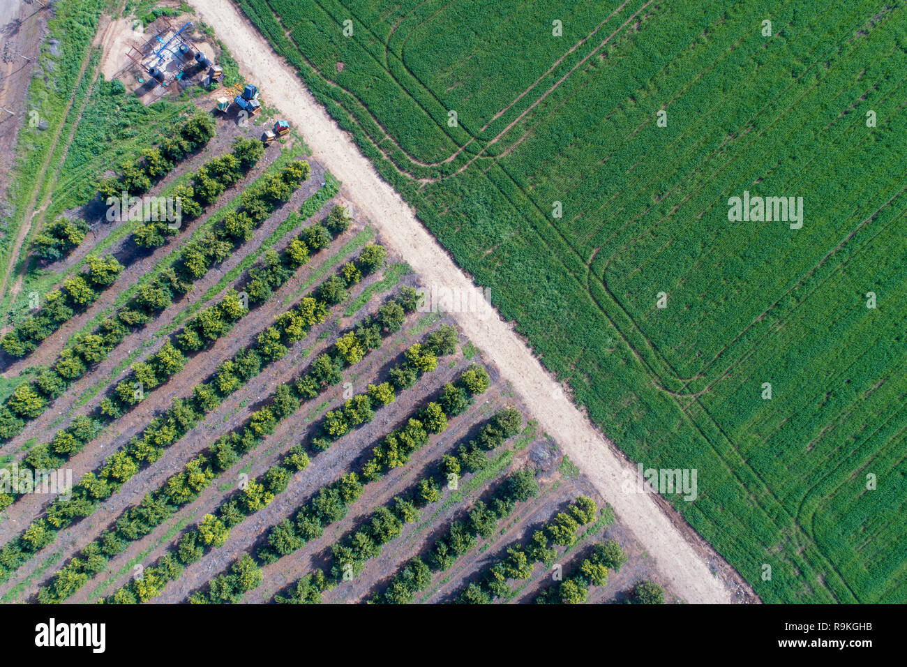 Aerial view of farmland and nature in central Israel along the Yarkon stream. Photographed in winter in February Stock Photo