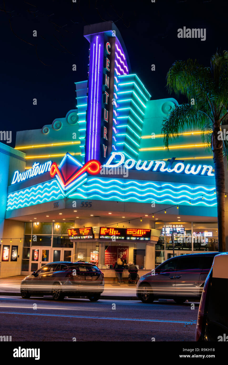 pretty nice 59e04 2aa45 Movie theater in downtown Ventura, California, USA decorated with neon  lights and streaking traffic headlamps on Christmas Eve, 2018.