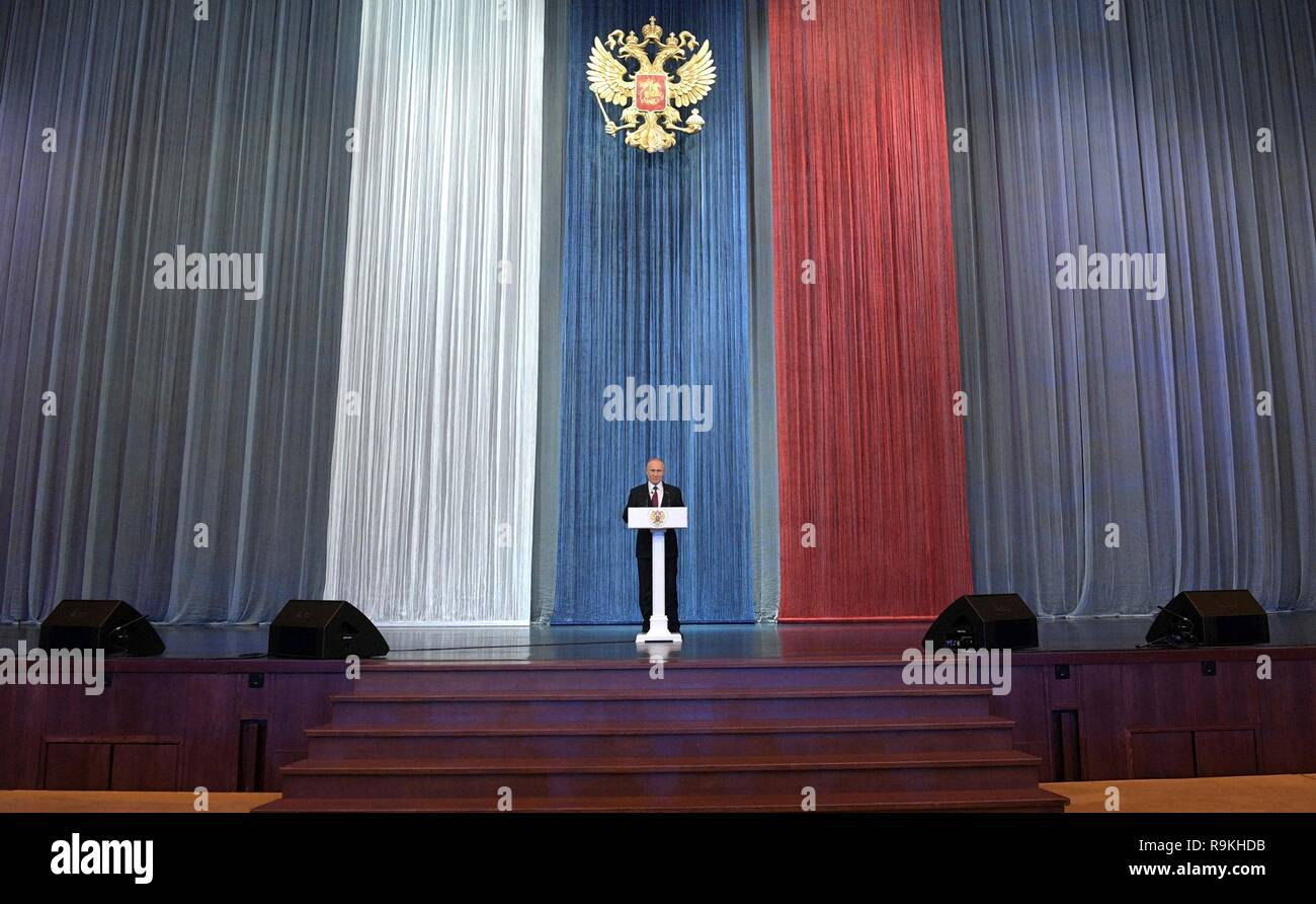 Russian President Vladimir Putin delivers an address to employees of State Security Agencies during State Security Agency Employee Day December 20, 2018 in Moscow, Russia. Stock Photo