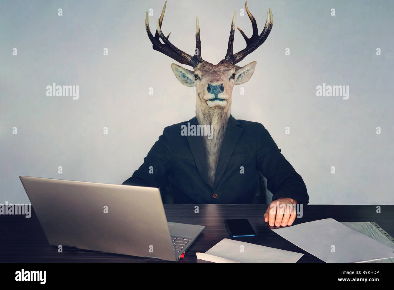 male business man with deer head on a blue background in the office at the Desk. concept of irrational management. stupid employees and employees in t - Stock Image