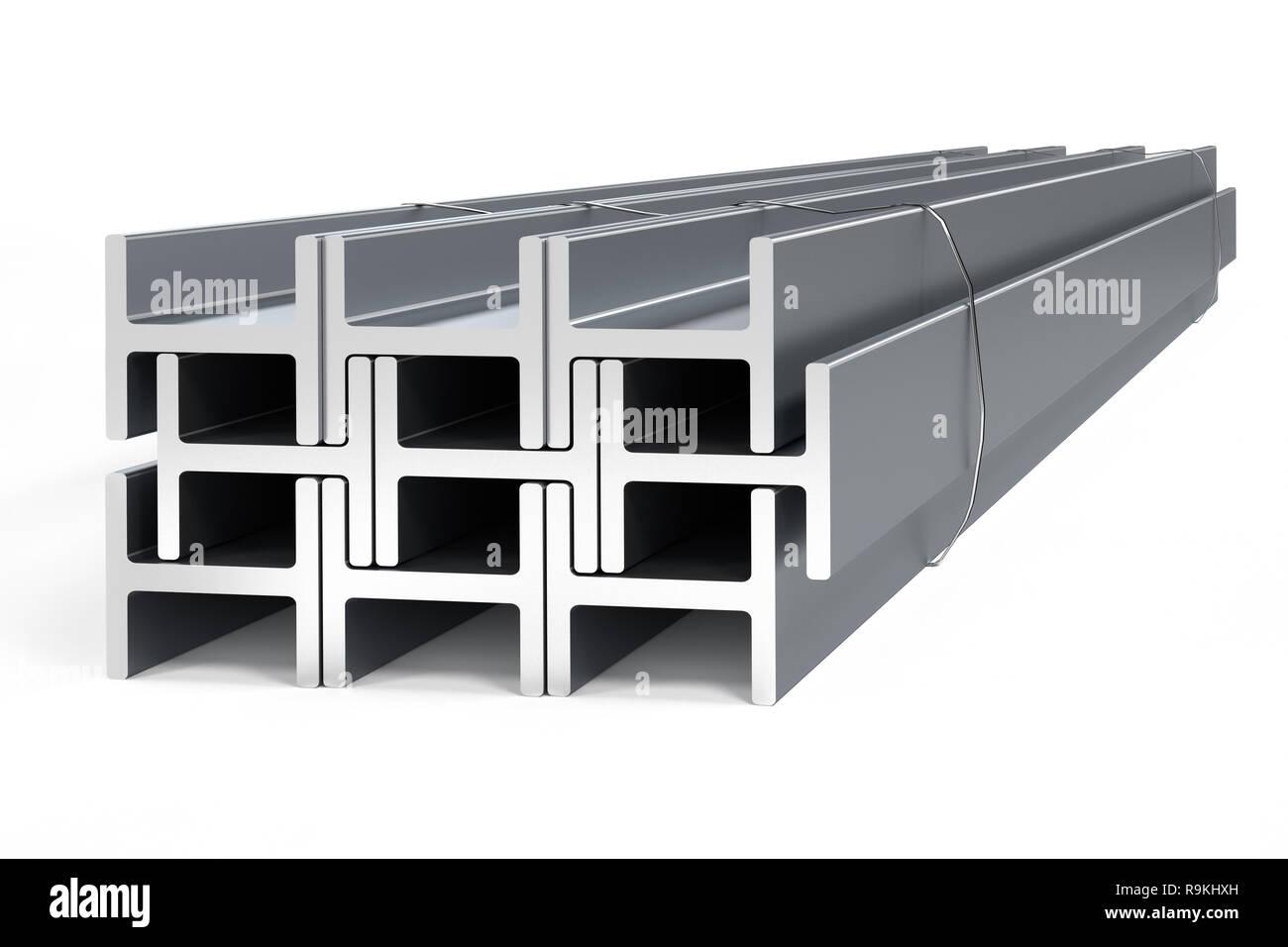 Stack of steel I-beams - 3D render Stock Photo